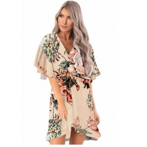 Apricot Floral Print V Neck Wrap Dress with Ruffle